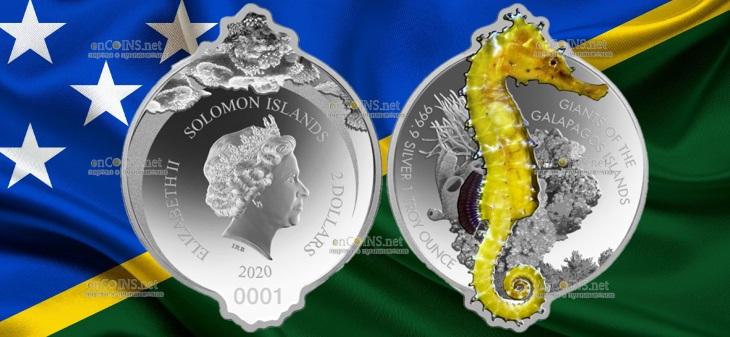 Соломоновы острова монета 2 доллара Гигантский морской конек