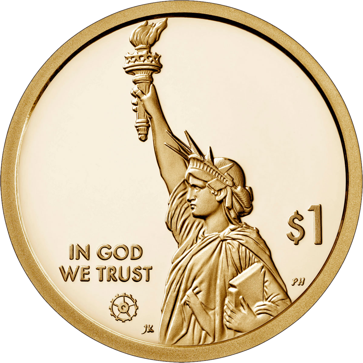 США монета 1 доллар 2020 года, аверс