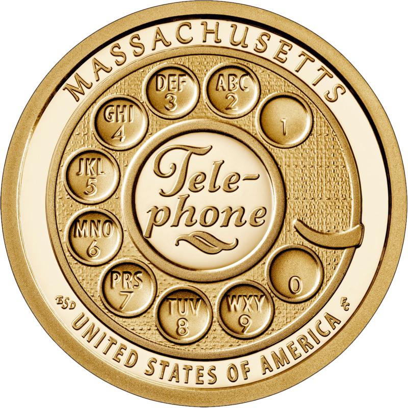 США монета 1 доллар Массачусетс, реверс