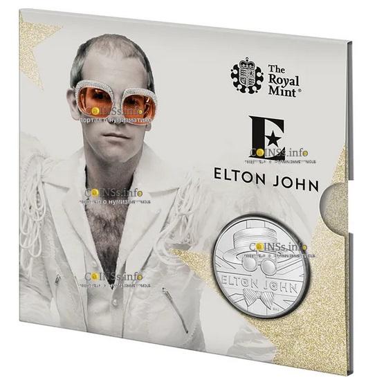 Великоборитания монета 5 фунтов Элтон Джон, подарочная упаковка