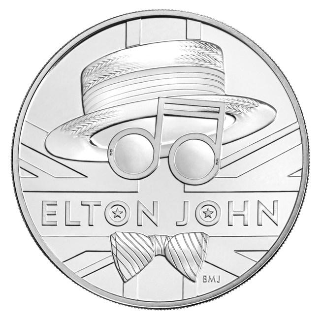 Великобритания монета 5 фунтов Элтон Джон, реверс