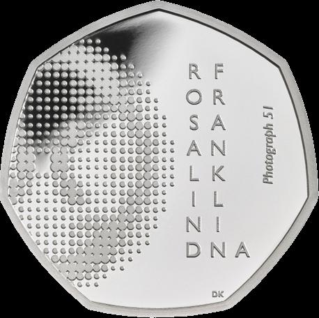 Великобритания монета 50 пенсов Розалинда Франклин,реверс, серебро