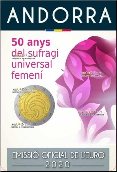 Андорра монета 2 евро 50 лет всеобщему избирательному праву женщин, подарочная упаковка