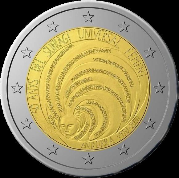 Андорра монета 2 евро 50 лет всеобщему избирательному праву женщин, реверс