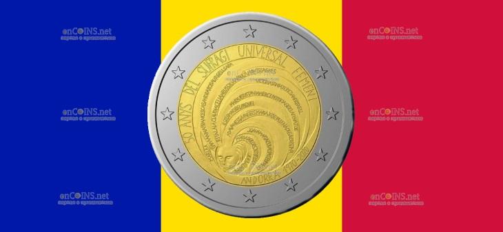 Андорра монета 2 евро 50 лет всеобщему избирательному праву женщин