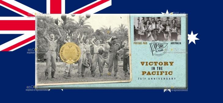 Австралия выпускает монету 1 доллар 75 лет Победы на Тихом океане