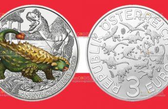 Австрия монета 3 евро Анкилозавр