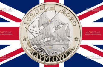 Британия монета 2 фунта Мейфлауэр