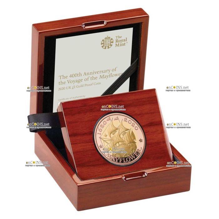 Британия монета 2 фунта Мейфлауэр, подарочная упаковка