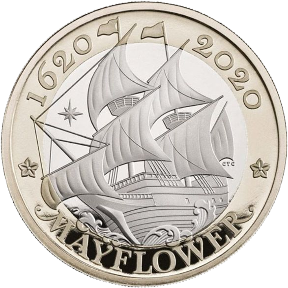 Британия монета 2 фунта Мейфлауэр, реверс