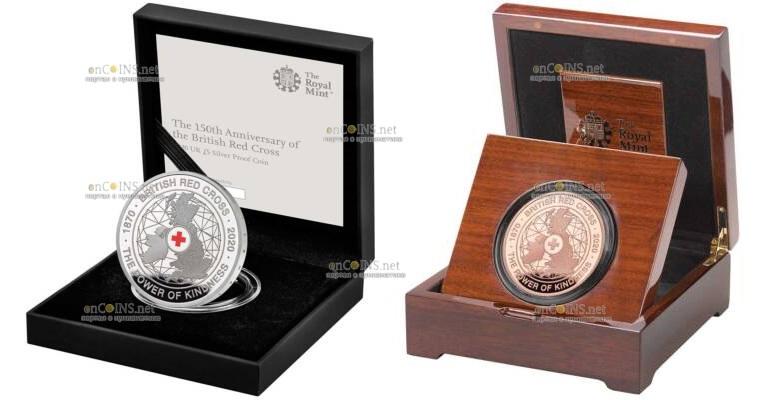 Британия монета 5 фунтов Британский Красный Крест, подарочная упаковка