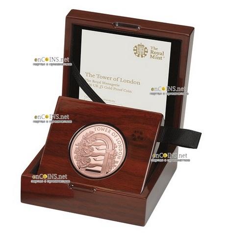 Британия монета 5 фунтов Королевский зверинец, золото, подарочная упаковка