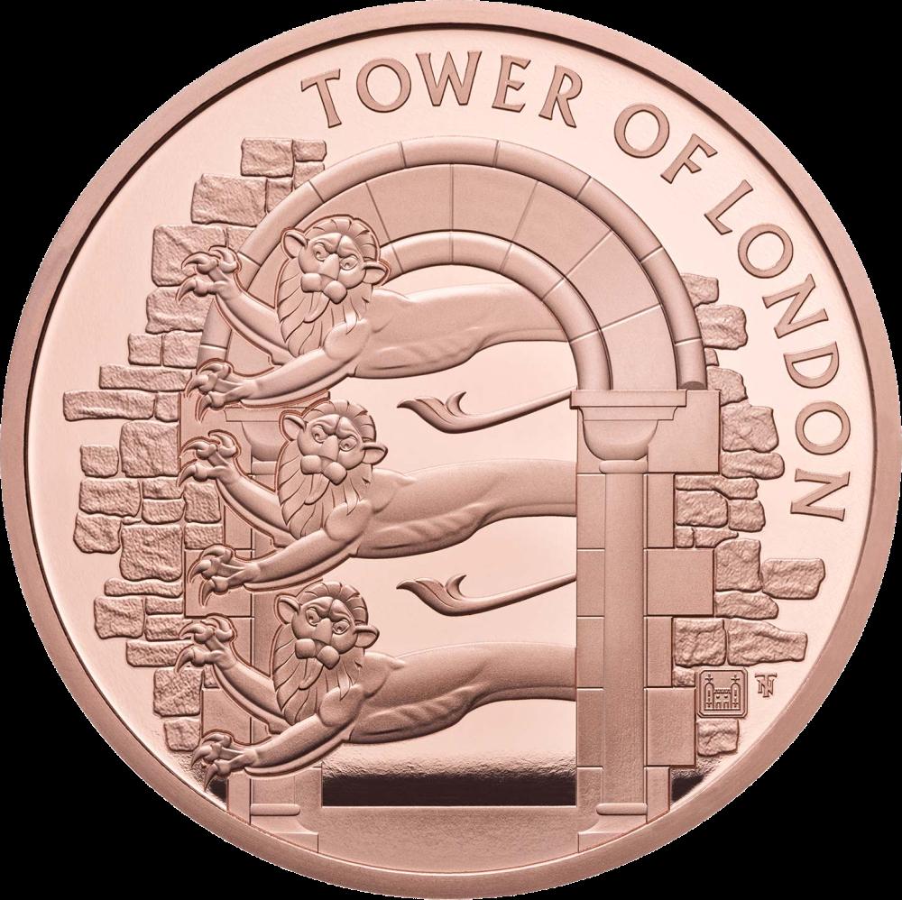 Британия монета 5 фунтов Королевский зверинец, золото, реверс