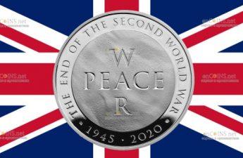 Британия монета 5 фунтов Война и Мир