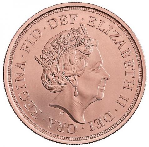 Британия монета Соверен 5 фунтов, аверс