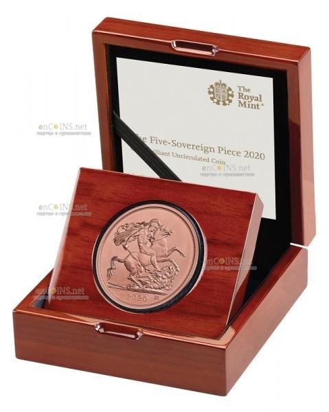 Британия монета Соверен 5 фунтов, подарочная упаковка