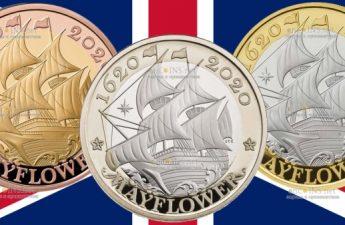 Британия выпустила в обращение серию монет Мейфлауэр