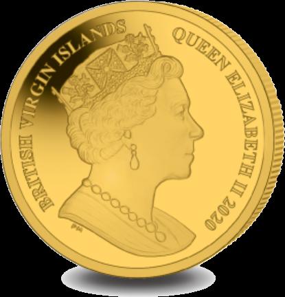 Британской Виргинские острова монета 100 долларов 400 лет путешествия Мэйфлауэра, аверс