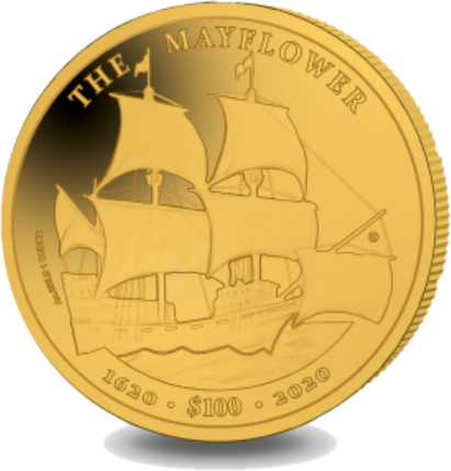 Британской Виргинские острова монета 100 долларов 400 лет путешествия Мэйфлауэра, реверс
