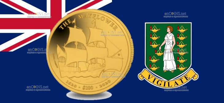 Британской Виргинские острова монета 100 долларов 400 лет путешествия Мэйфлауэра