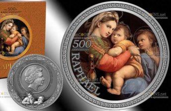 Гана монета 10 седи 500 лет смерти Рафаэля