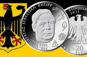 Германия монета 20 евро Себастьян Кнейпп