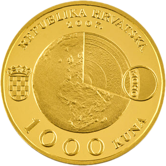 Хорватия монета 1000 кун Андрия Мохоровичич, аверс