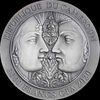 Камерун монета 3000 франков Мгновение любви, аверс