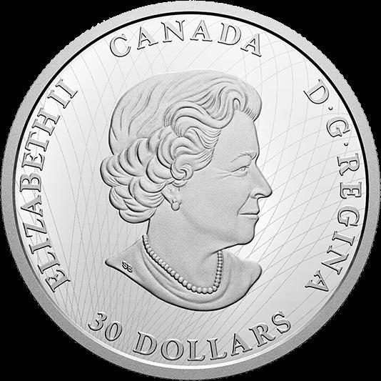 Канада монета 30 долларов 150 лет Северо-Западным территориям, аверс