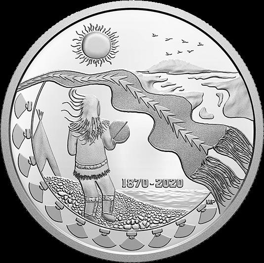 Канада монета 30 долларов 150 лет Северо-Западным территориям, реверс