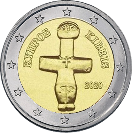 Кипр монета 2 евро Помосский идол, реверс