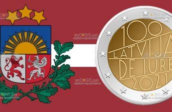 Латвия монета 2 евро 100 лет со дня признания Латвии де юре