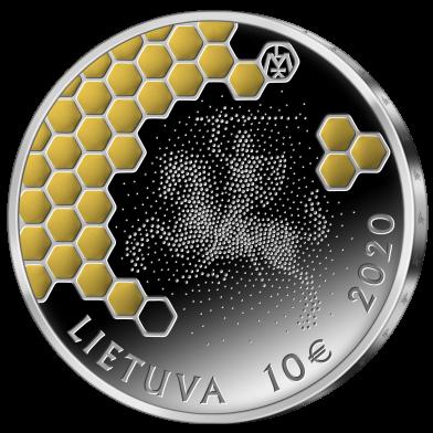 Литва монета 10 евро Древесное пчеловодство, аверс