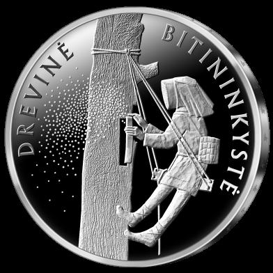 Литва монета 10 евро Древесное пчеловодство, реверс