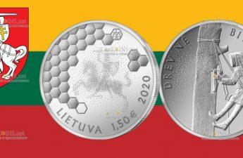 Литва монета 1,5 евро Древесное пчеловодство