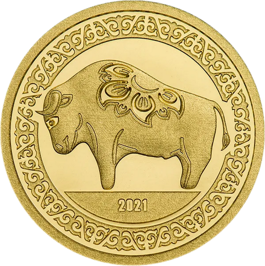 Монголия монета номиналом 1 000 тугриков год Быка, реверс