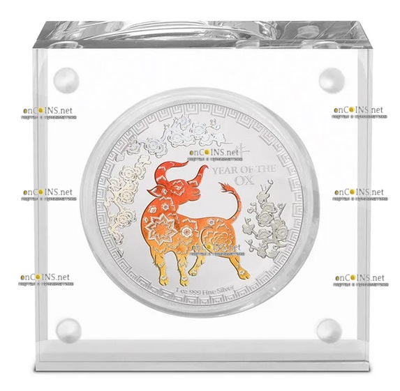 Ниуэ монета 2 доллара Год Быка, подарочная упаковка