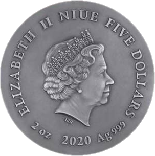 Ниуэ монета 5 долларов Серый Волк, аверс