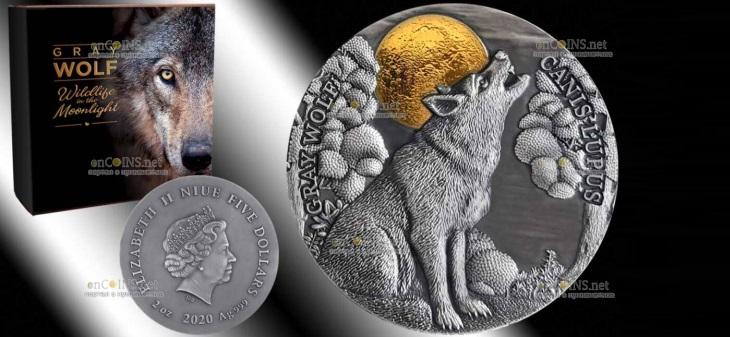 Ниуэ монета 5 долларов Серый Волк