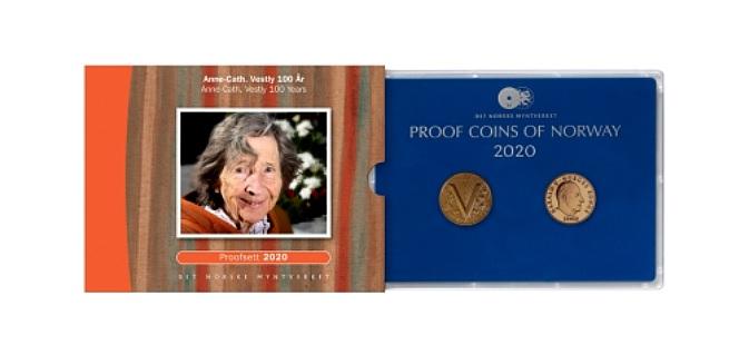 Норвегия монета 20 крон Анна-Катарина Вестли, подарочная упаковка