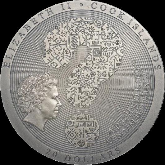 Острова Кука монета 20 долларов Дендерский зодиак, аверс