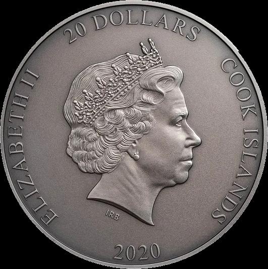 Острова Кука монета 20 долларов Прометей, аверс