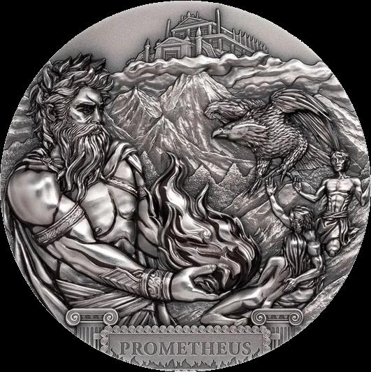 Острова Кука монета 20 долларов Прометей, реверс