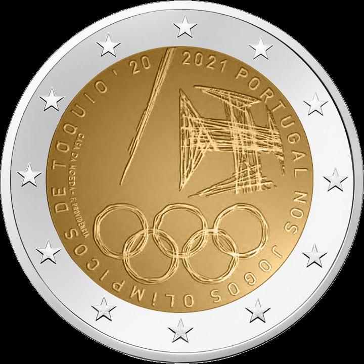 Португалия монета 2 евро Летние Олимпийские игры 2021, реверс