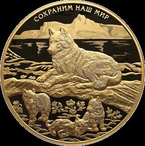 Россия монета 1000 рублей Полярный волк, реверс