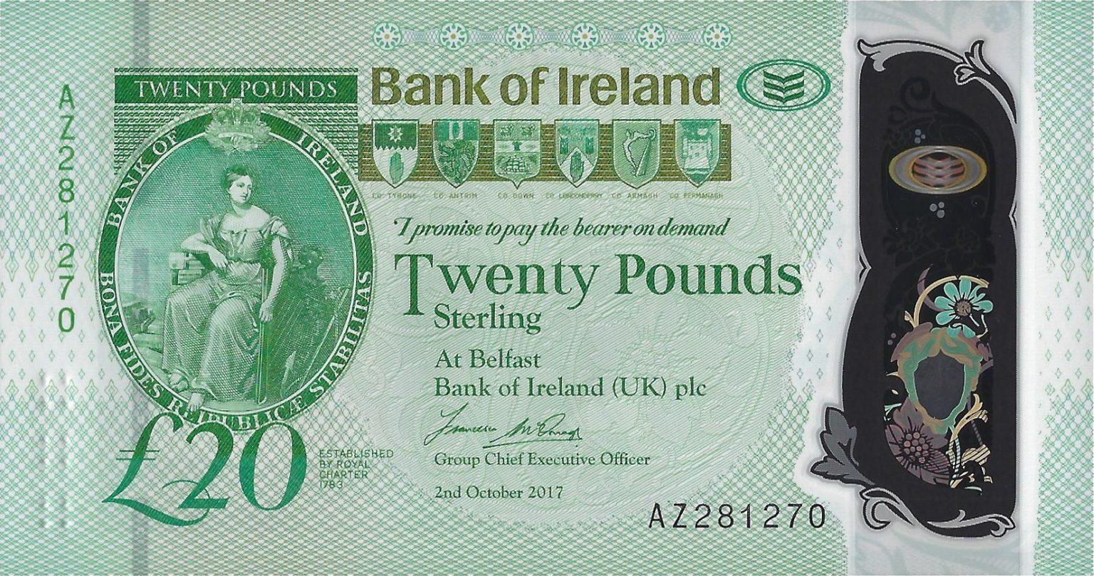 Северная Ирландия банкнота 20 фунтов, лицевая сторона