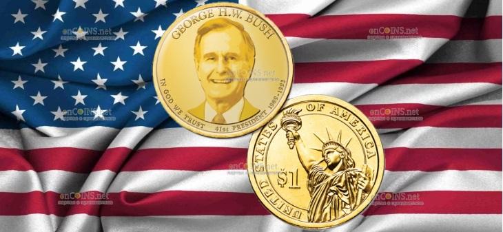 США монета 1 доллар Джордж Буш