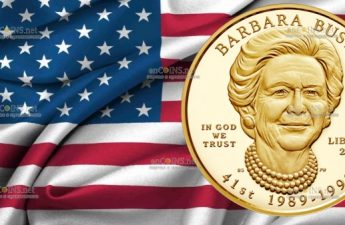 США монета 10 долларов Барбара Буш