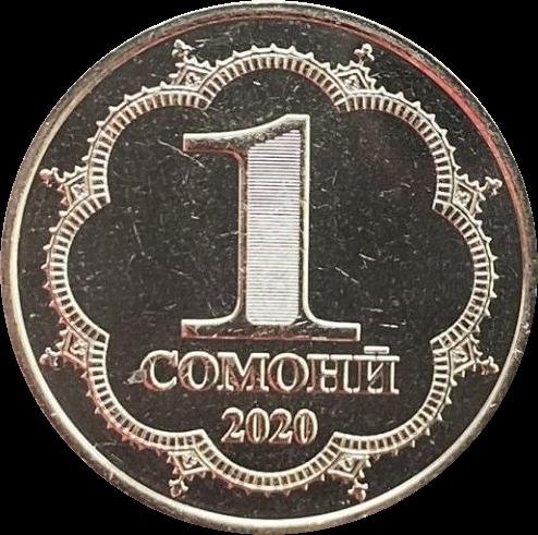 Таджикистан циркуляционная монета 1 сомони, аверс