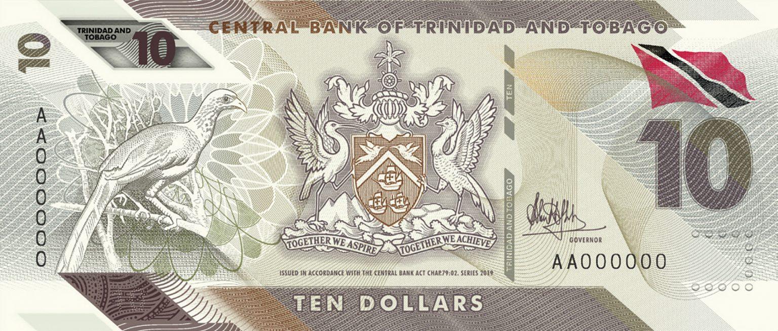 Тринидад и Тобаго банктона 10 долларов, 2020 года, лицевая сторона
